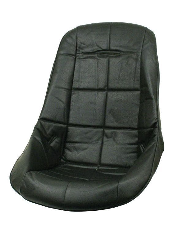 Low Back Seat Cover Black Vinyl with Black Square Pattern Insert Universal