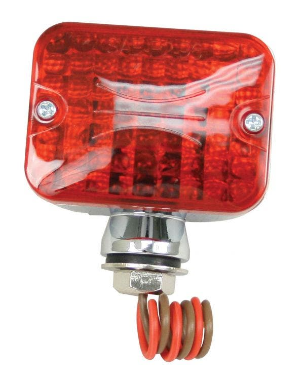 Mini Rear Light finished in Chrome with Red Lens