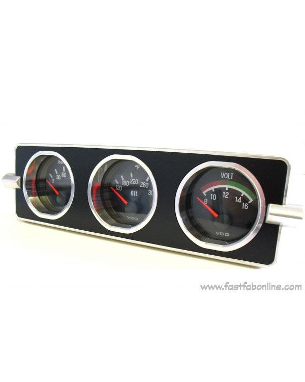 Fast-Fab Gauge Mounting Panel Radio Hole Mounted for 3 x 52mm Gauge Black