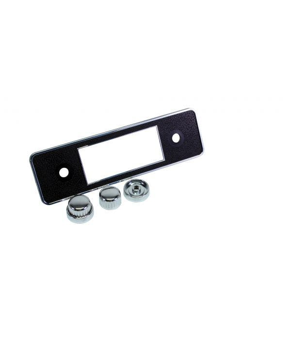 Black and Chrome Stereo Faceplate including Knobs and Escutcheons