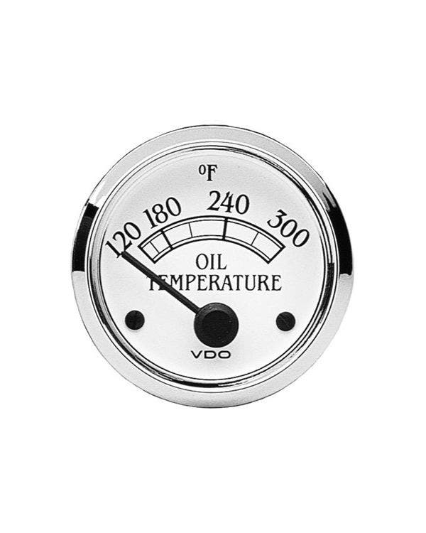 VDO Temperaturanzeige, Royale, 300F, 52mm, weiß und chrom