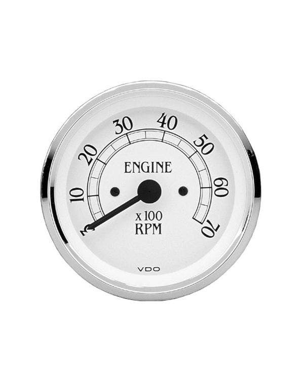 VDO Royale Tachometer 7000RPM 80mm White and Chrome