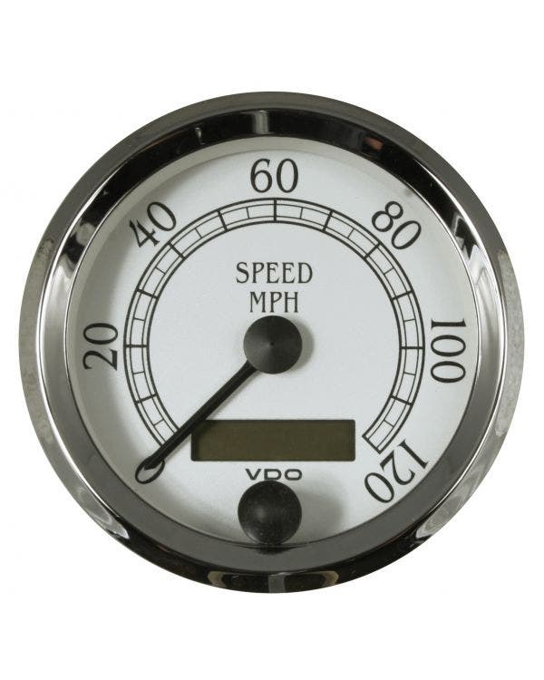 VDO Royale Speedometer 120 MPH 80mm White and Chrome