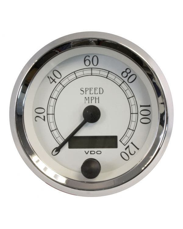 VDO Royale Speedometer 120 MPH 86mm White and Chrome
