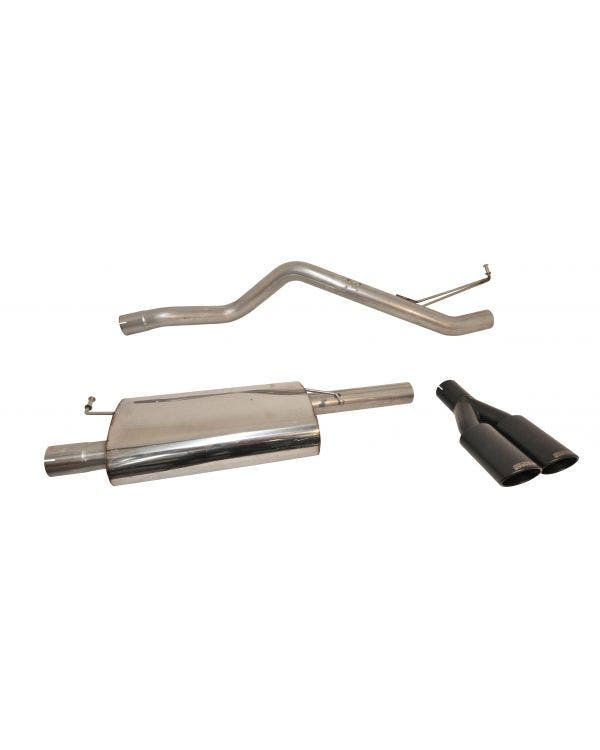Milltek Cat-Back Exhaust System Resonated (Quieter) Finished with a Twin Black Oval Outlet for SWB