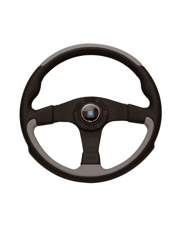 Nardi Leader Steering Wheel, Black and Grey Leather 350mm