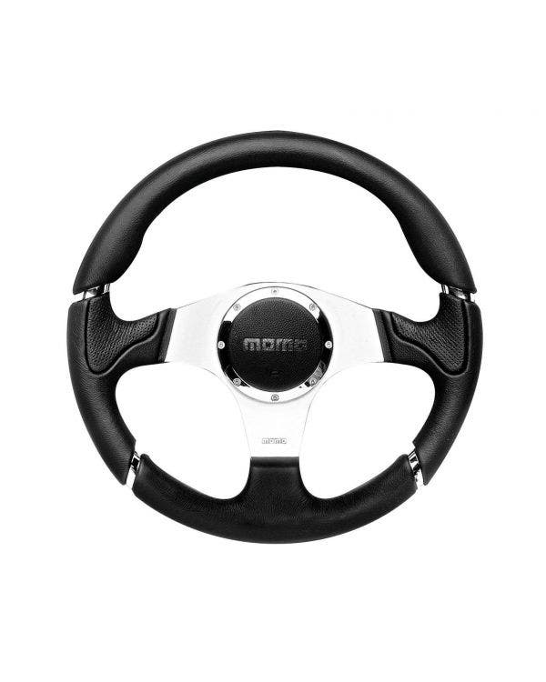 Momo Millennium Steering Wheel, Black Leather with Aluminium Centre 320mm