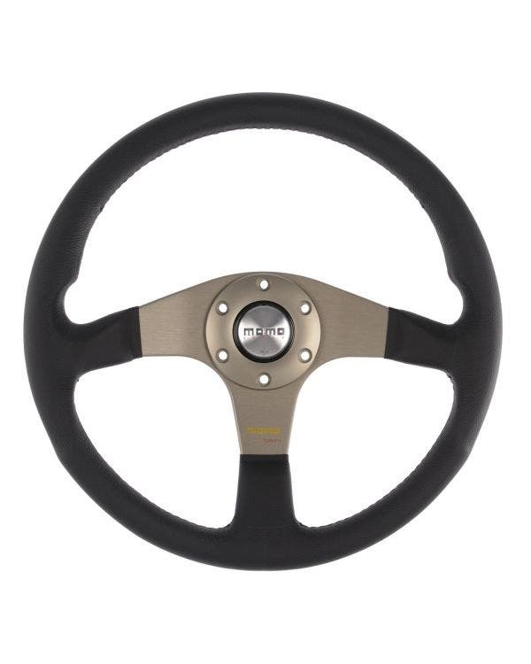 Momo Tuner Steering Wheel, Black Leather with Anthracite Centre 320mm