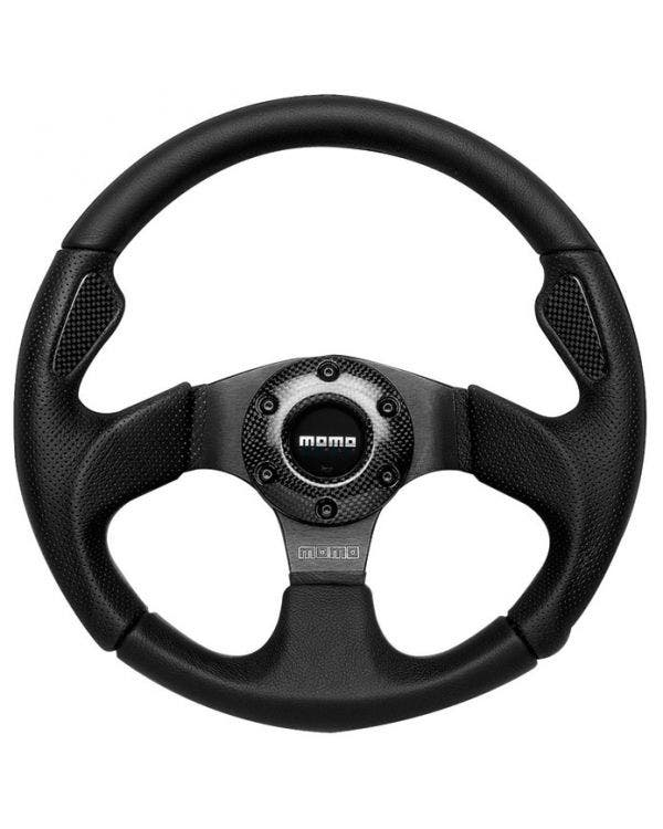 Momo Jet Steering Wheel, Black Leather with Carbon Insert 350mm