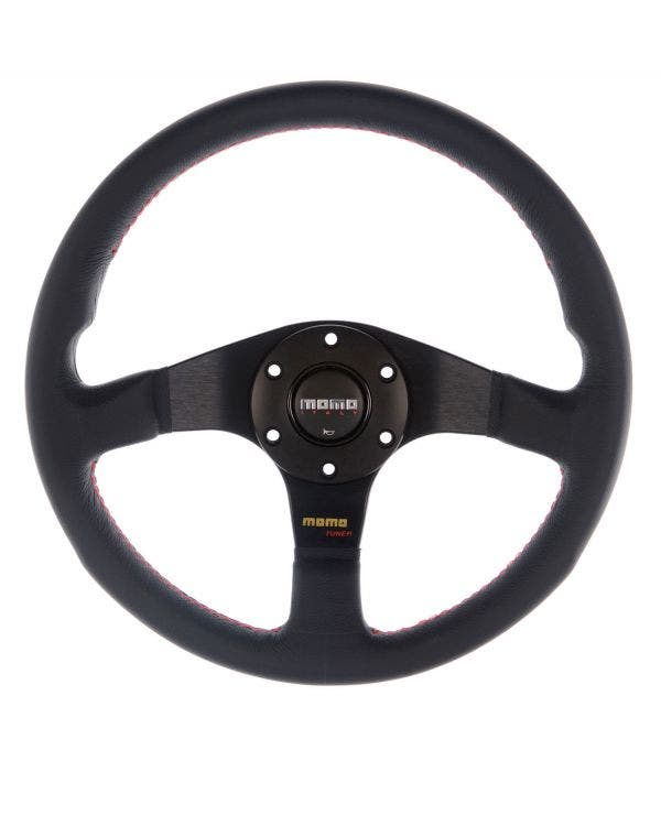 Momo Tuner Steering Wheel, Black Leather with Black Centre 350mm