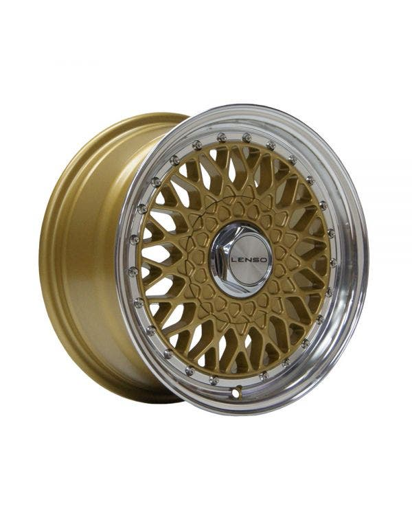 Lenso BSX Alloy Wheel 7Jx15'' ET38 4x100 Stud Pattern Gold Polished