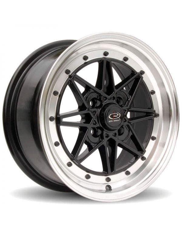 Rota Flashback Alloy Wheel 7Jx15'' ET40 4x100 Stud Pattern Black Polished