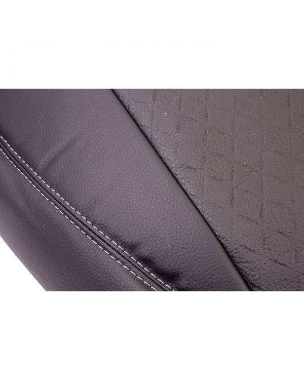 Front Seat Covers Single and Bench Black Sides Black Diamond Pattern with Grey Stitching