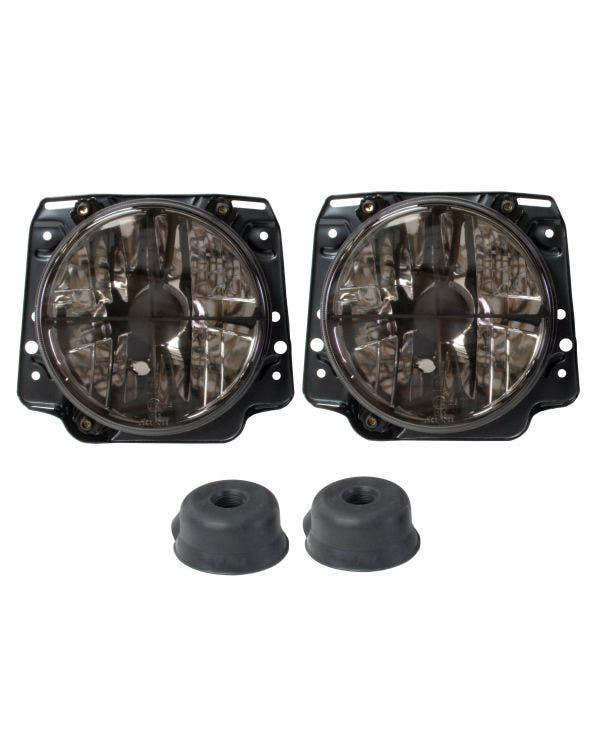 Headlights Crystal Clear Smoked Crosshair for Right Hand Drive Pair