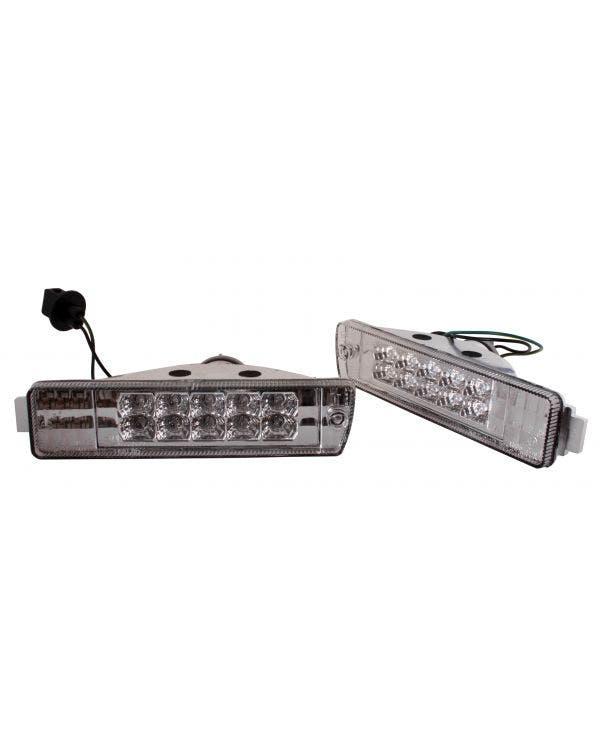Ensamblaje de intermitente delantero con lente transparente de LED para parachoques pequeño, par