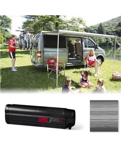 Fiamma F45S 260 Roll Out Awning for Multivan LHD in Deep Black/Grey inc Adapters