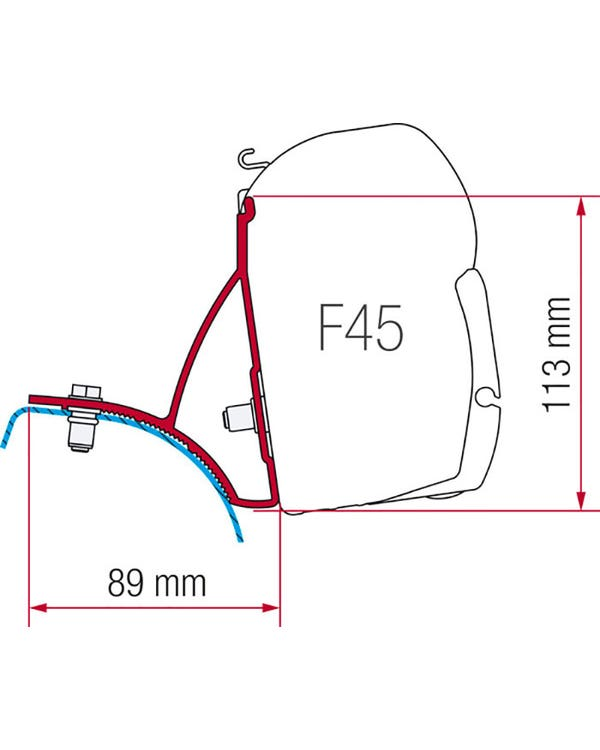 Fiamma F45 Adapters T5 with Poptop in Channel