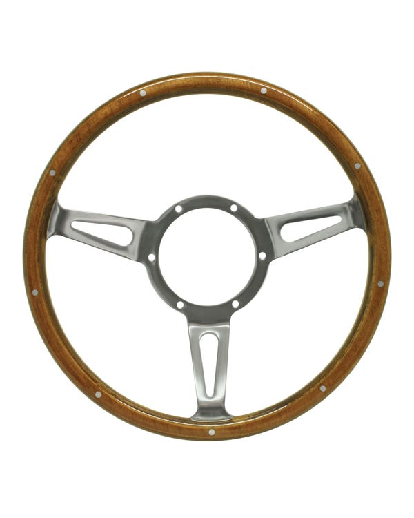 Volante con embellecedor de madera Mountney de 13'' con medio disco pulido central