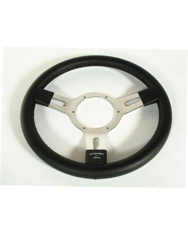 Mountney Black Leather Rim Steering Wheel 13'' with Polished Semi-Dished Centre