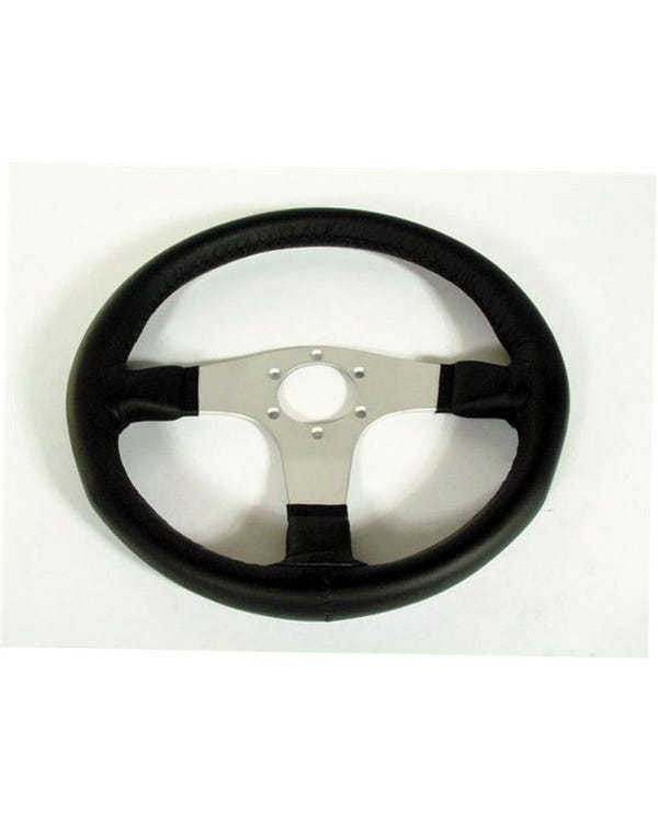 Mountney Black Leather Rim Steering Wheel with Silver Spokes 340mm