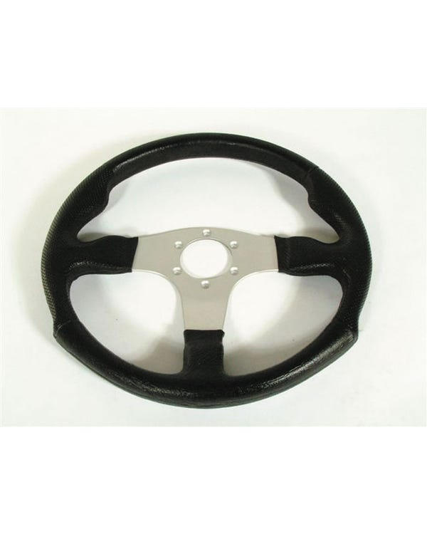 Mountney M-Range Black Moulded Rim Steering Wheel with Silver Spokes 340mm