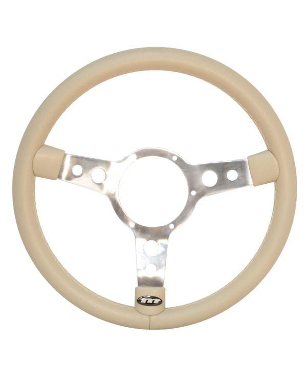 Mountney Beige Vinyl Steering Wheel 15'' Semi-Dished