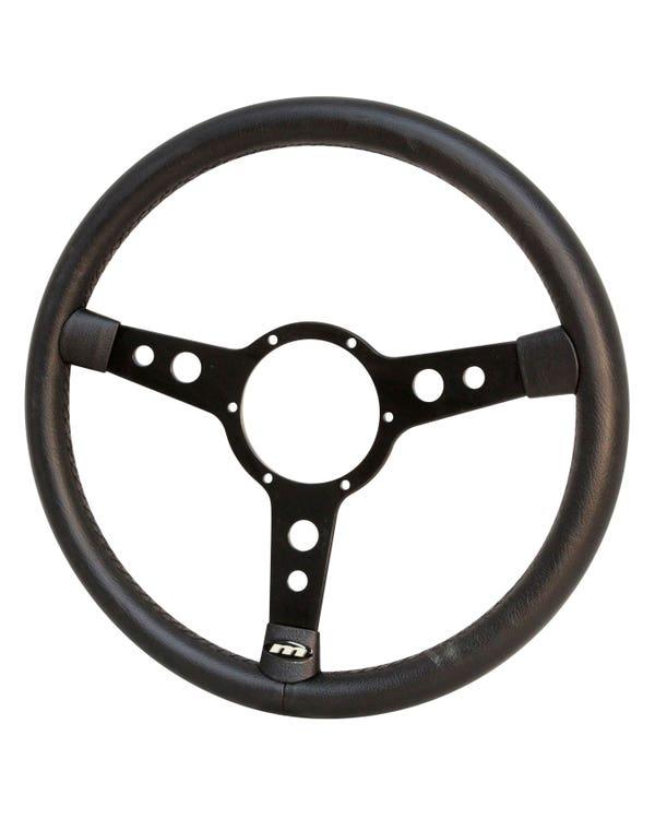 Mountney Black Leather Rim Steering Wheel 15'' Semi-Dished