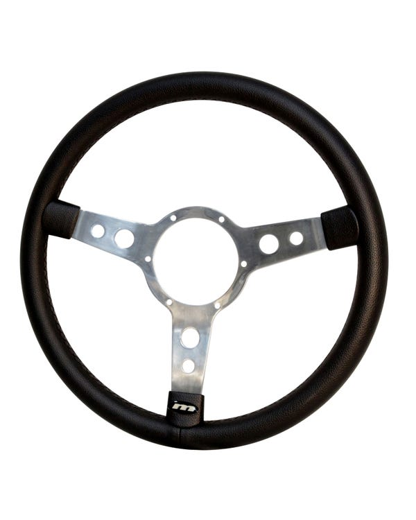 Mountney Black Vinyl Steering Wheel 15'' Semi-Dished