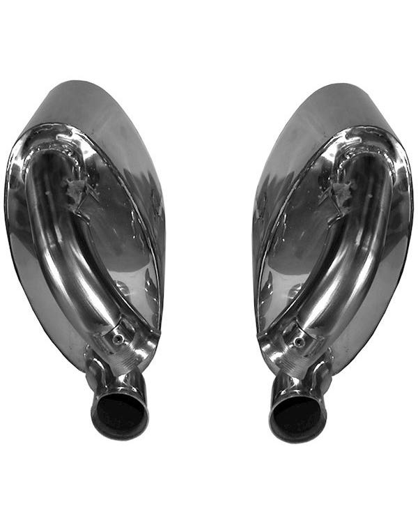 Sports Exhaust Rear Silencer Set, OE Style, Stainless Steel