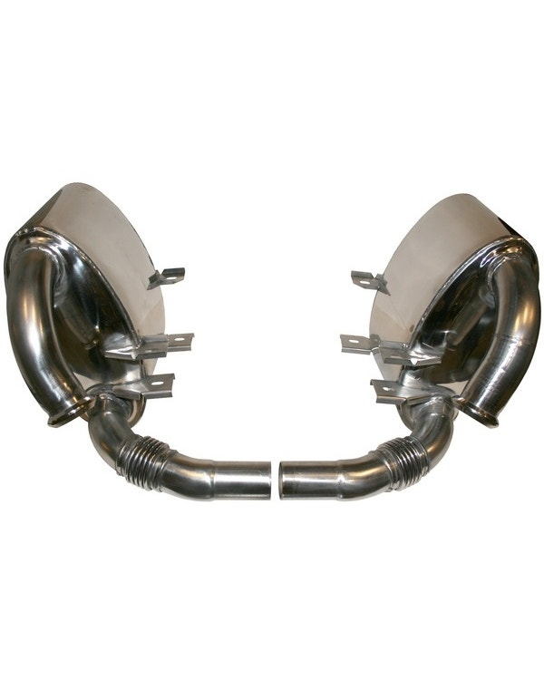 Sports Exhaust Rear Silencer Set, Sound Version, Stainless Steel