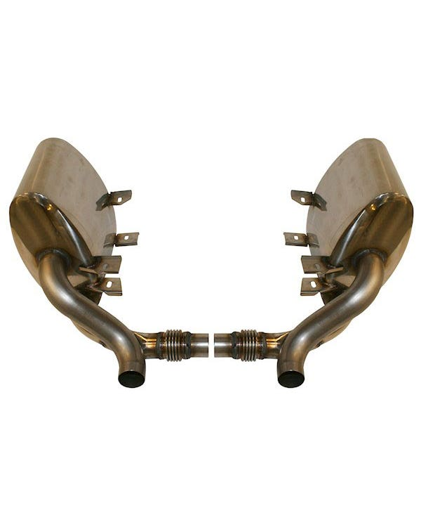 Sports Exhaust Silencer Set, Sound Version, Stainless Steel