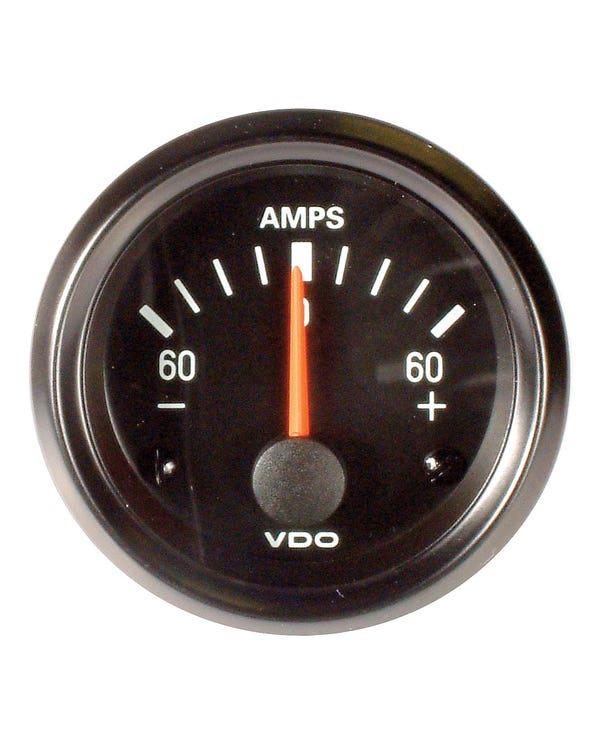 VDO Cockpit Ammeter 60Amp 52mm Black