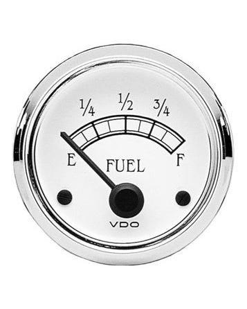 VDO Royale Fuel Gauge for Universal Sender 52mm White and Chrome