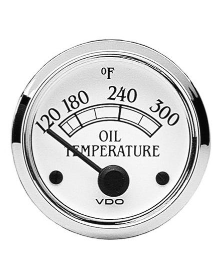 VDO Royale Oil Temperature Gauge 300F 52mm White and Chrome