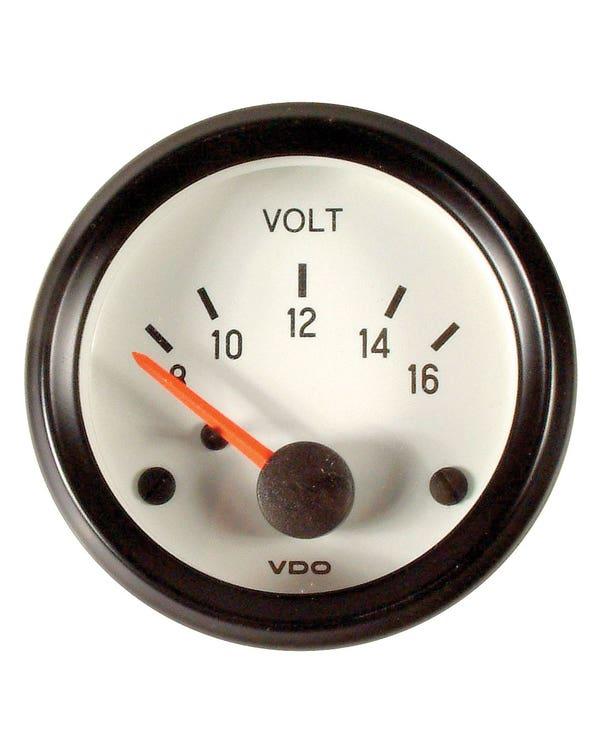 Reloj, Voltmeter, Blanco, 52mm, VDO