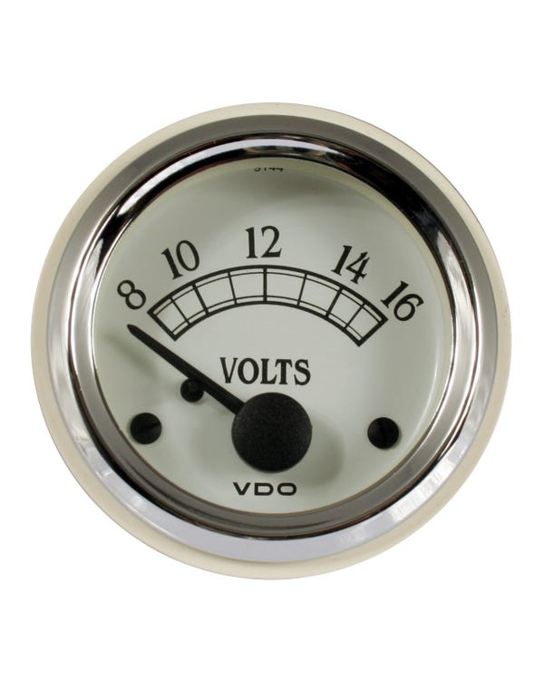 VDO Royale Voltmeter Gauge 52mm White and Chrome