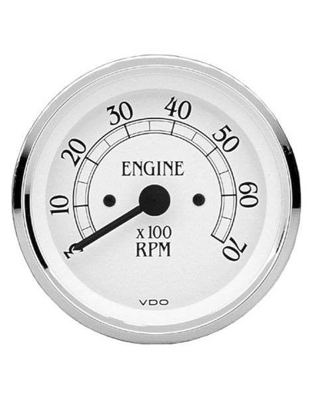 VDO Drehzahlmesser Royale,  7000RPM, weiß und chrom, 80mm