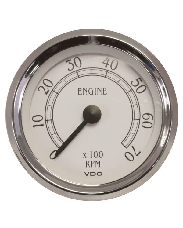 VDO Royale Tachometer 7000RPM 86mm White and Chrome
