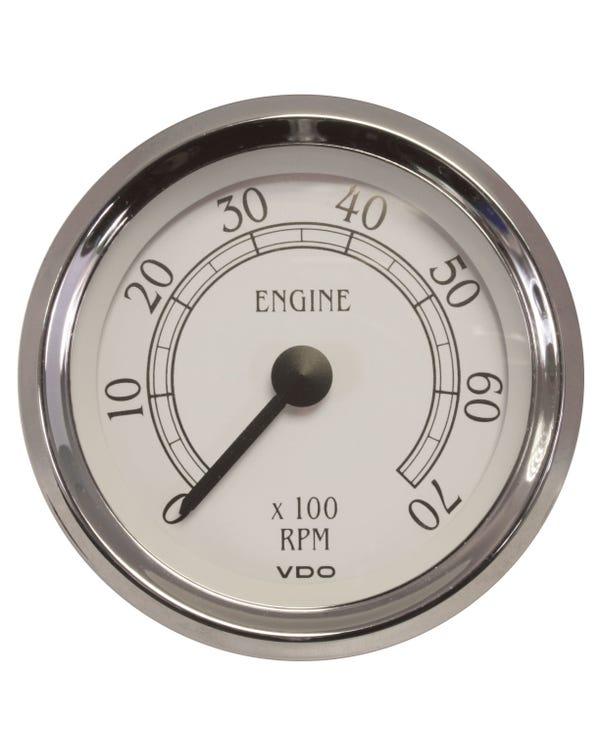 Tacómetro VDO Royale de 7000RPM, 86mm, blanco y cromado