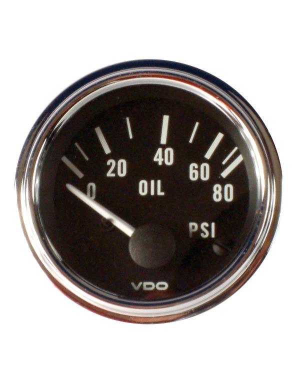 VDO Series 1 Oil Pressure Gauge 80PSI 52mm Chrome