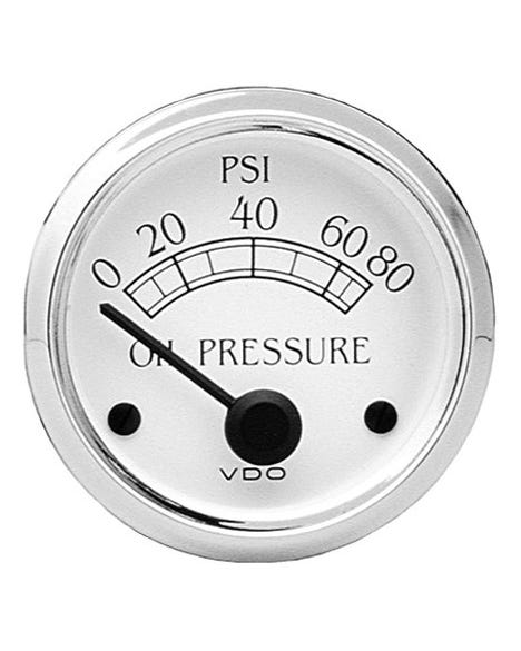 VDO Royale Oil Pressure Gauge 80PSI 52mm White and Chrome