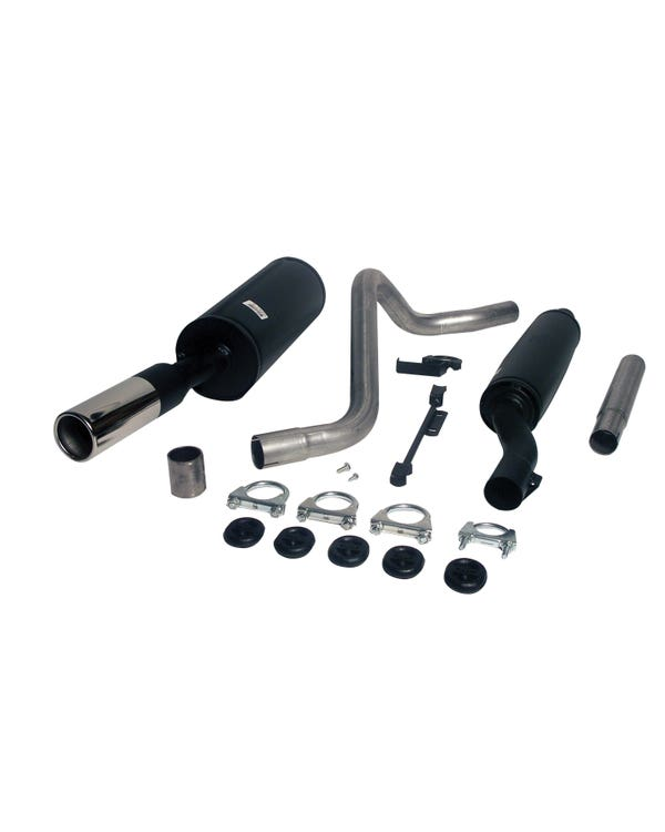 Jetex Exhaust 2 Box System with Single 80mm Round Tail Pipe Mild Steel