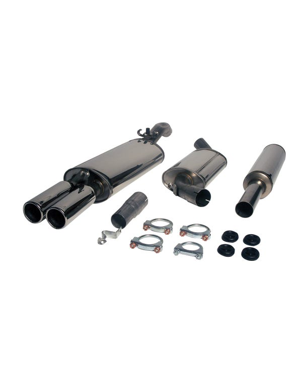 Jetex Exhaust 3 Box System with Twin 80mm Round Tail Pipes Stainless Steel