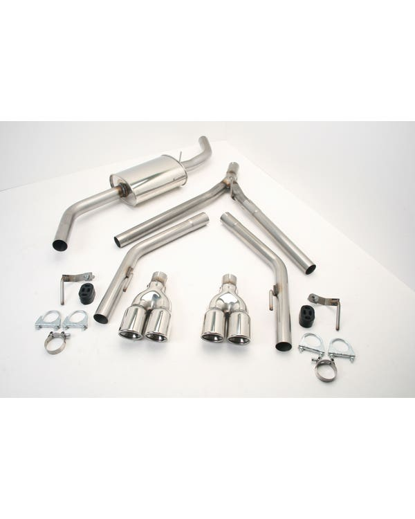Stainless Steel Exhaust with Twin Double 3'' Tailpipes for Short Wheelbase