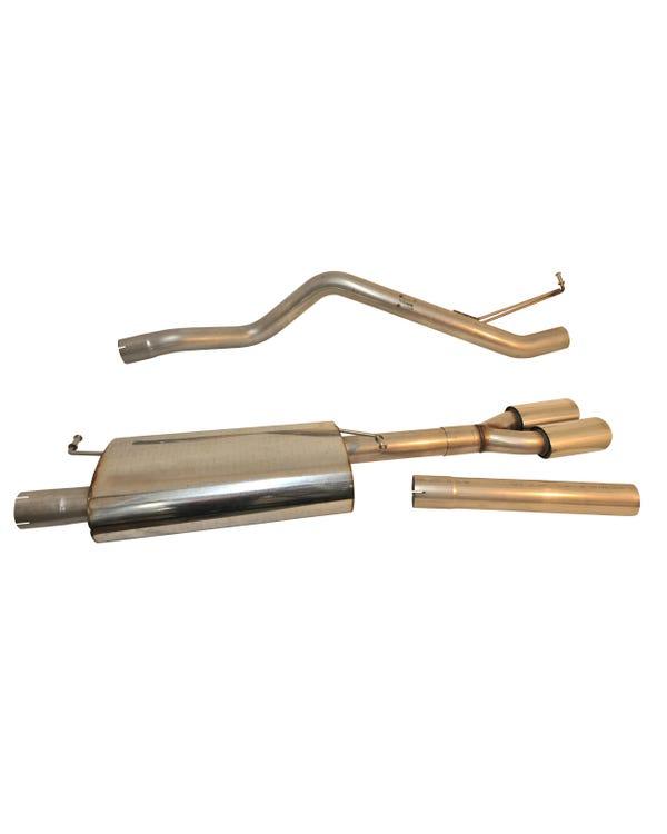 Milltek Auspuffanlage (ab Katalysator), mit Resonator (leiser), abgeschlossen mit einem speziellen, ovalen Twin-Auslass für langen Radstand