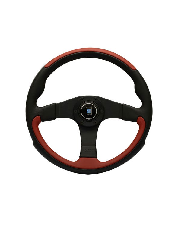 Nardi Leader Steering Wheel, Black and Red Leather 350mm