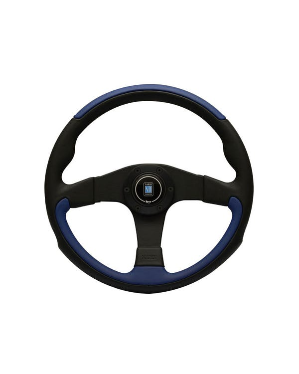 Nardi Leader Steering Wheel, Black and Blue Leather 350mm