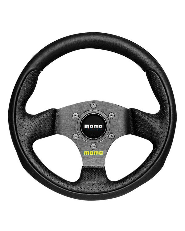 Momo Team Steering Wheel, Black Leather with Black Centre 300mm