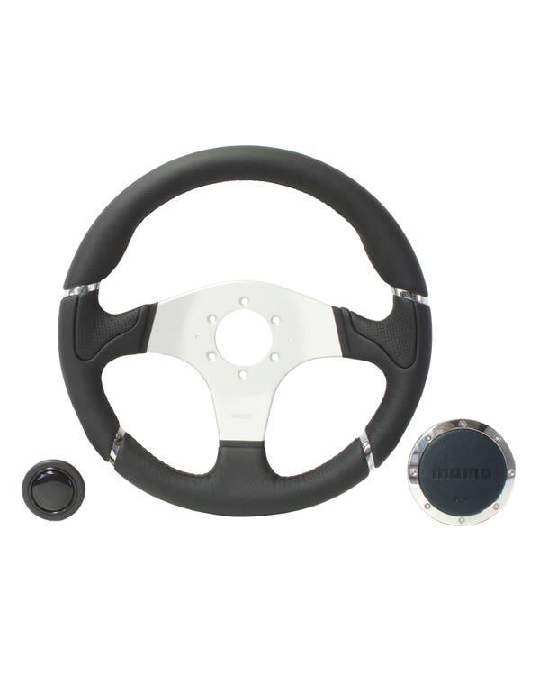Momo Millennium Steering Wheel, Black Leather with Aluminum Centre 350mm