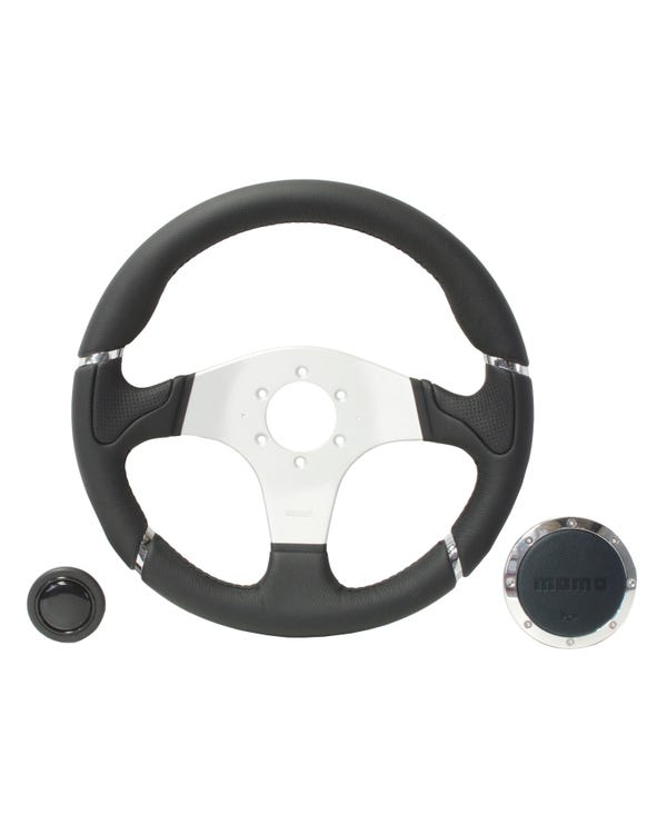 Momo Millennium Steering Wheel, Black Leather with Aluminium Centre 350mm